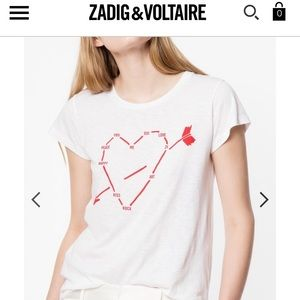 NWT ZADIG&VOLTAIRE Skinny Heart Constellation Tee